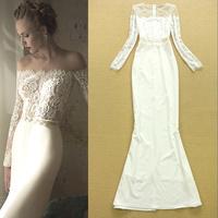 High quality fashion elegant lace gauze patchwork sexy formal dress bride dress full one-piece dress