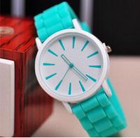 2015 new fashion Classic Geneva Silicone quartz Watch Jelly women Rhinestone dress watches ,free shipping