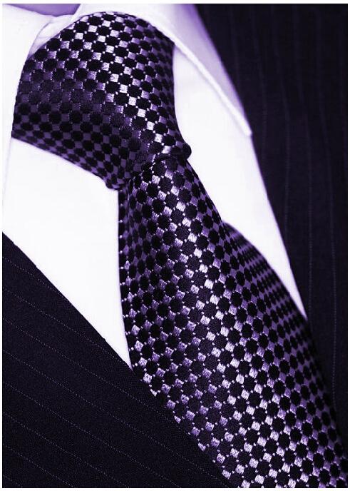 Brand Classical Mens Purple Dot Cravate Ties Gravatas Masculinas For Wedding Dress Business Suit Manual Silk