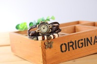 New Arrival Butterfly pendant bracelet watches,100% GENUINE Leather Hand Knit Vintage Watches,Factory Dropshipping free shipping