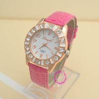fashion lady wrist crystal watch rose gold pink dress casual quartz women rhinestone wristwatch lady girl white dial hour