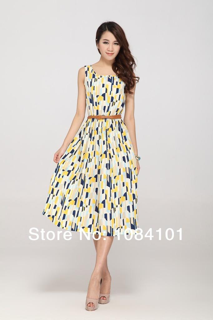 Vestidos Femininos Limited Women Dress Summer Dresses The New Sleeveless Round Collar Long Women's In Spring 2014 Lyq2012031202(China (Mainland))