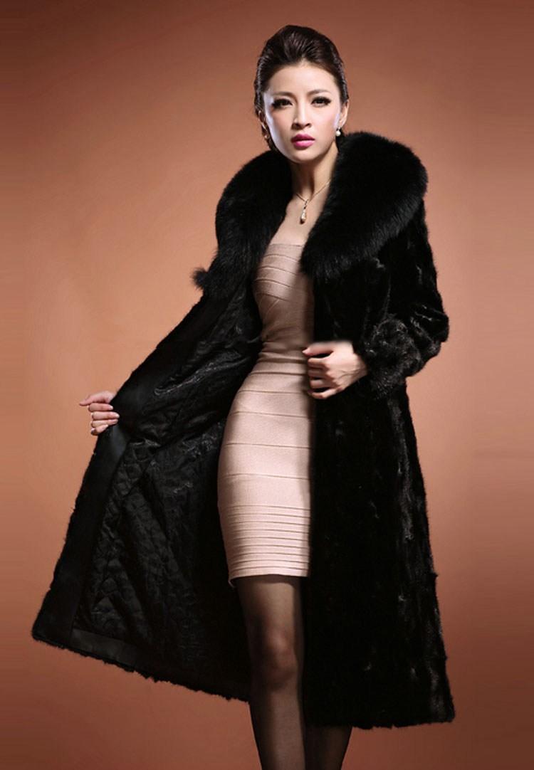about ZJ New Fashion Winter Warm Womens Luxury Faux Mink Fur Long Coat ...