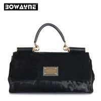 Winter luxury brand black horsehair fur bag handbag motorcycle bag Korean fashion high quality genuine leather bag for women
