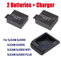 2PCS 3.7V Li-ion Battery 900mAh + One charger for HD camera SJCAM SJ4000 SJ5000 SJ5000 PLUS WIFI Sports Action camera