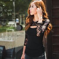 Freeshipping 1PC Sexy Women Lace O-Neck Long Sleeve Lady Plus Size T-Shirt Casual Blouse Tops Alipower S-XXXL
