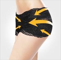 Nylon+spandex lace panties pelvis sedan are shaping underwear Black/Skin color