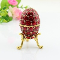 Free Shipping New Brand New Design Faberge Trinket Egg with Crystal Decorations Jewelry Box