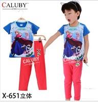 pajama clothes set fashion summer olaf cartoon solid cotton kids baby boys girls children pajamas clothing sets X-651
