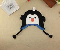 2015 New Kids Winter Cap Baby  Black and White Penguin Cap Original order Carton Cap 4 size 47cm,49cm,51cm,53c