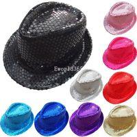 20% OFF 2015 Fashion Cool Unisex Fancy Trilby Sequin Kids Children Kid Sequins Flashing Cap Trilby Costume Dance Party Hat A2