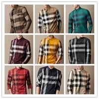2014 new fashion men long casual shirt luxury male Embroidery logo england style famous plaid shirt S-XXL slim fit shirts