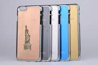 "Luxury Chromed Mirror Surface Paris Eiffel Statue of Liberty 3D Metal Plastic Hard Case For Apple iphone 6 Plus iphone6 5.5"""
