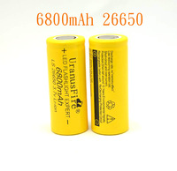 2Pieces   3.7V 6800mAh Lithium Li-ion Rechargeable 26650 Battery Free Shipping