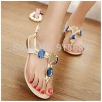 Imitation gemstones metal buckle abrasion rubber sequined sandals 171-6