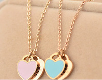 Fashion Jewelry 14K Rose Gold chain necklace Titanium statement Double Heart choker necklace