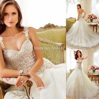 2014 Vestido De Noiva Sweetheart Straps Lace Appliques Long Mermaid Wedding Dresses Ivory White Bridal Dress Lace Up Back