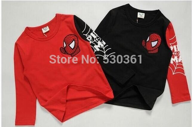 HOT NEW 2015 Long Sleeve cartoon spiderman Kids Boys T-shirt Top Long Sleeve Clothing casual baby clothing(China (Mainland))