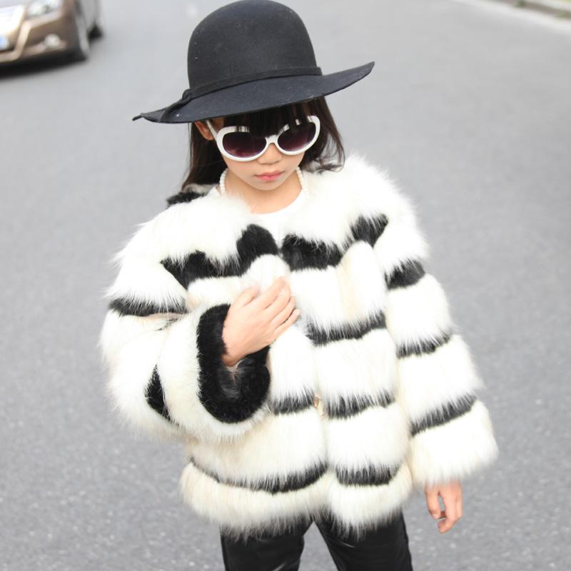 White Coats White Stripe Faux Fur Coat