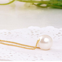 Cheap Fashion Cute Women Jewelry Gold Chain Pendant Necklaces Round Simulated Pearl Necklace