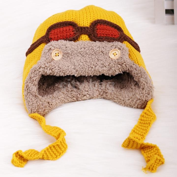 Gorro Aviador Winter Warm Kids Faux Fur Bomber Hat Toddler Baby Pilot Knitted Crochet Beanie Hat Ski Earflap Cap(China (Mainland))