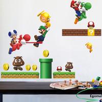 Super Mario bros Boy Room Kids Room Nursery Art Decal Wall Stickers Home Decor adesivo de parede Wall Stickers For Kids Rooms