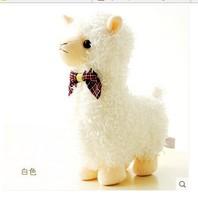 30cm white Alpaca plush toy lovely bowtie alpaca ,gift p3048