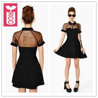 Export!new 2015 brand sexy Mesh splicing chiffon Slim waist Party A-line dress womens transparent shoulde dress
