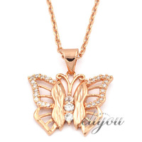 NEW Fashion Jewelry Women Girls Butterfly w CZ 18K Rose Gold Filled Pendant Necklace Optional Chain Free Shipping P43R