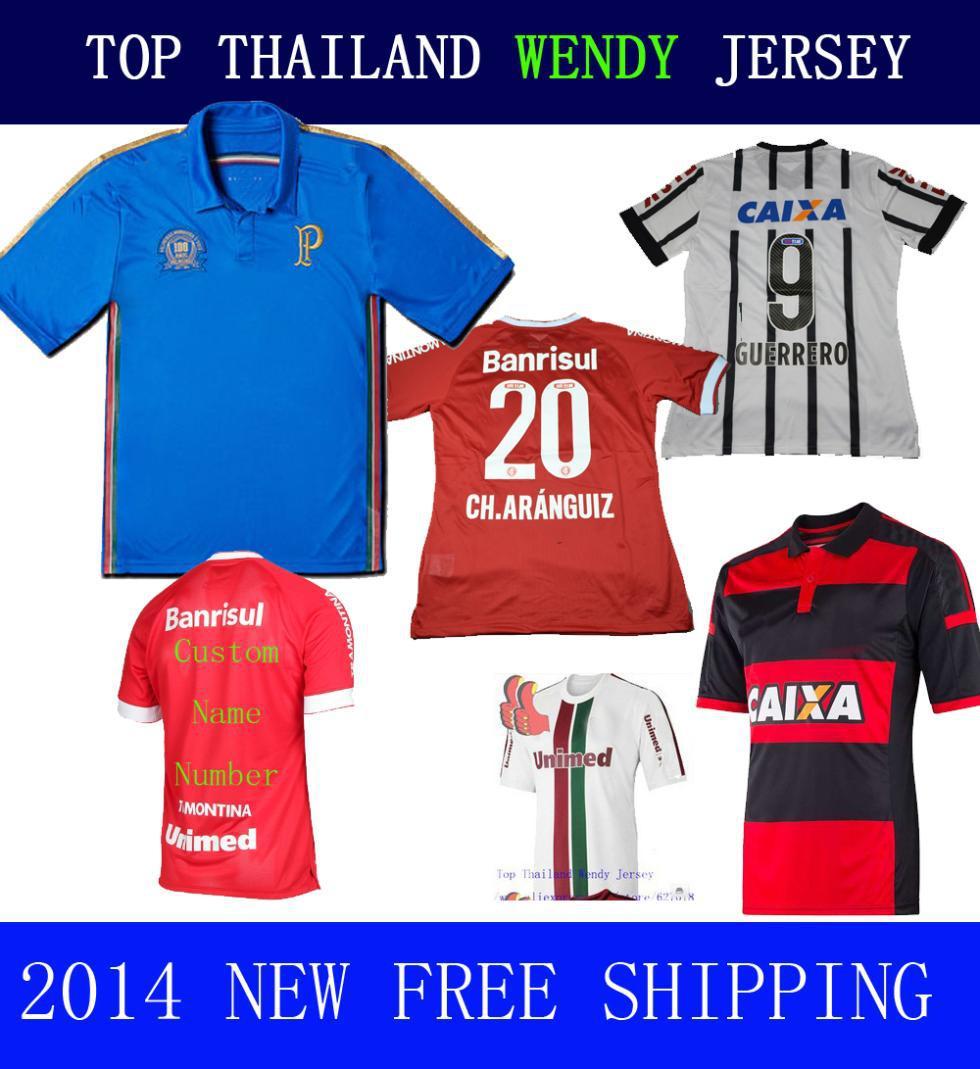 A+++ 2015 New Thailand Quality Corinthianers Soccer Jerseys Camisa Palm Palmeiras Blue 14 15 Flamengo Away Outdoor Red Wear(China (Mainland))