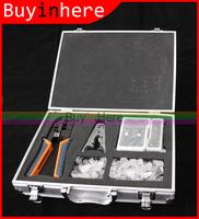 Lan Network Cable Tester+Crimper Tool+ Cable Stripper Crimper Cutter +50 rj45 Rj 11 Crystal Head + Exquisite Aluminum box Case