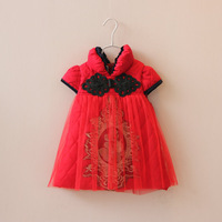 New Arrival Children New Year Clothing Girls Embroidery Tulle Chinese Ethnic Dresses Kids Cotton Gauze Vintage Dress 3905