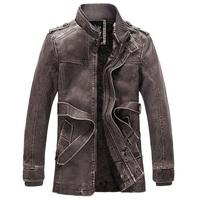 2014 Autumn Men Male Warm Coat PU Leather Jacket Motorcycles Fleece Windbreaker 3 Color 3 Sizes