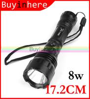 17.2cm Super Bright Cree Waterproof 8w Led Light Lamp 2000 Lumens Flashlight Torch Original Bulb Aluminum Alloy By 3aaa Battery