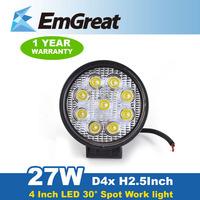New 4inch 27W LED Light Bar LED Work Light Bar Round Spot Beam for Offroad Indicators Driving Fog Lamp Truck ATV SUV Boat Car