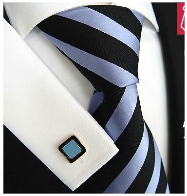 Hot Blue Black Striped Silk Ties Cravate Neckties Corbatas For Mans Gentlemen Formal Busniess Gravatas Masculinas