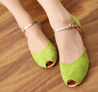 Brand Design New Women peep toe Sandals 100% real leather high quality women dress shoes Summer new low-heeled shoes us size 4-9