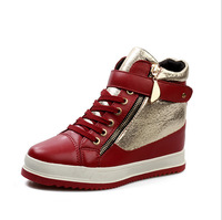 Free Shipping 2014 winter Genuine Leather women sneakers Fashion Sneaker 3 colors White black and red  Height Increasing