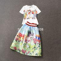 New 2015 spring summer women runway fashion brand tropical landscape patterns print long cute mid-calf skirt + white tops skirts