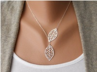 30 Piece-N131 New Fashion Vintage double Leaf Pendant Necklace Clavicle Chain For Women,best gift -Free shipping
