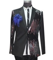 luxury sequins black/red mens tuxedo suit jacket embroidery beading jacket stage performance