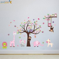 animal wall stickers for kids room zooyoo1216 baby room decorative sticker cartoon wall art home decorations wall decor 30*90*5