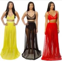 Free Shipping Womens Chiffon Party Dress Suit Sexy Crop Top Two Pieces Set Long Full Length Bandage Midi Beach Maxi Dress S M L