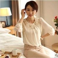 Loose chiffon blouse Bud silk long sleeve chiffon unlined upper garment -L198