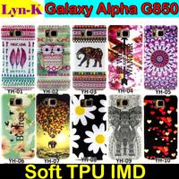 Lovely Cute Flower Owl Elephant Printed Soft TPU Back Case Cover Capinhas Capa Para for Samsung Galaxy Alpha G850 G850F G8508S