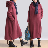 Women casual hoodies full dress plus size cotton 100% plus fleece thermal sudaderas mujer dress .8097