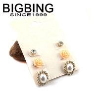 BigBing  jewelry fashion pink black flower crystal pearl stud earring set 3 pairs high quality  nickel free JA030