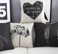 4pcs/set  45cm Modern fashion brief black and white home sofa mat fluid pillow office cushion cover