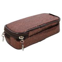 Newest Fashion Double-deck Shining Cosmetic Bag Handbag