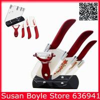 2014 New Style Gift Kits Ceramic Knife Set,Red Printing Kitchen Knives 4''/6''/6.5'' + Peeler + Knife Holder